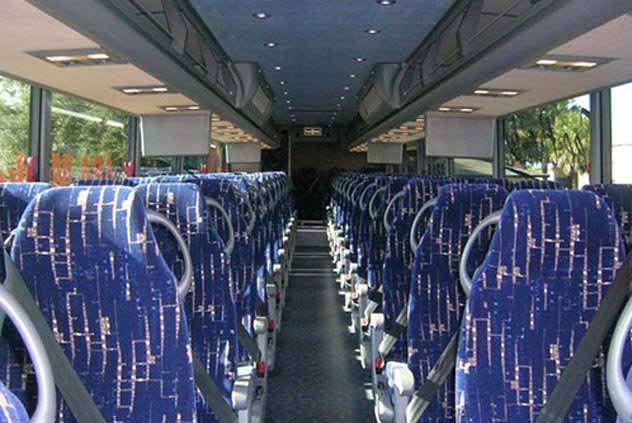 Aisle in 56 Passenger Motorcoach