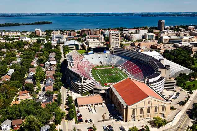 Aerial view of stadium in Madison, WI