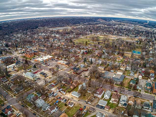Aerial view of the town of Mankato, MN