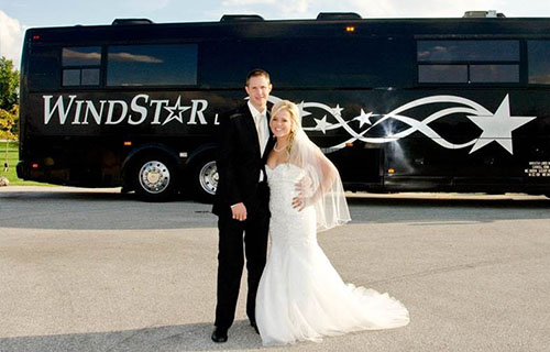 Wedding couple renting Windstar bus.